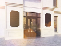 Toned shop exterior with chalkboards. Side view of shop exterior with two blank chalkboards. Toned imaged. Mock up, 3D Rendering Royalty Free Stock Photo