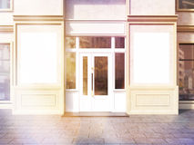 Toned shop exterior with posters Royalty Free Stock Images