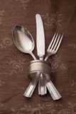 Toned silverware Stock Photo