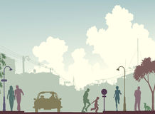 Toned street. Editable silhouette of a busy street with all elements as separate objects stock illustration
