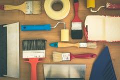 Toned used renovation tools stock photo