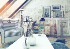 Toned vintage effect living room interior Stock Photo