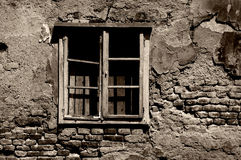 Toned war destroyed window stock photography