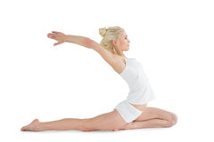 Toned young woman stretching hands backwards Stock Image