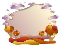 Toneel de herfstlandschap van weiden en bomen, achtergrond met mede stock illustratie