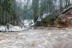 Toneel de winter gekleurde rivier in land Stock Foto's