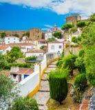Toneel de zomergezicht in Obidos, Leiria-District, Portugal Royalty-vrije Stock Foto's