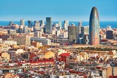 Toneel luchtmening van de Agbar-Toren in Barcelona Stock Fotografie