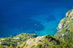 Toneel mediterranian kustlijn, Positano, Amalfi kust, Italië stock fotografie