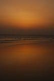 Toneel mening van een kust tijdens schemer. royalty-vrije stock foto's