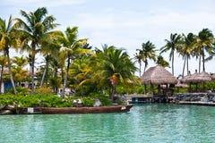 Toneel Mening van een Mayan Pier Riviera Stock Afbeeldingen
