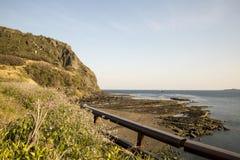 Toneel overzeese mening bij Jeju-eiland Zuid-Korea royalty-vrije stock foto