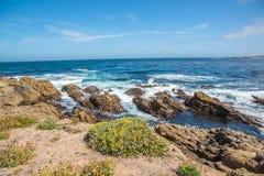 Toneel rotsachtige kustlijn langs de historische 17 Mijlaandrijving Stock Fotografie