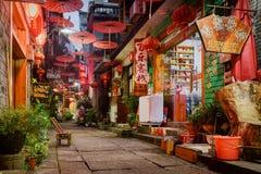 Toneel smalle straat van de Oude Stad van Phoenix (Fenghuang), China stock afbeelding