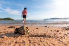 Toneel van het strand van het de zomerzand en bewolkte blauwe hemel Stock Foto