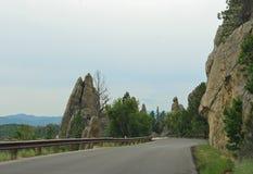 Toneelaandrijving op Naaldenweg, Custer State Park, Zuid-Dakota stock fotografie