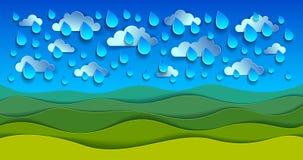 Toneelaardlandschap van groene grasweide onder regendalingen c royalty-vrije illustratie