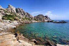 Toneelbaai op Valle della Luna. Sardinige, Italië Stock Foto