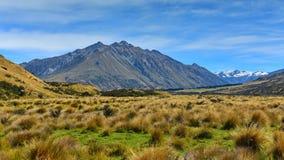 Toneelbergen in Ashburton-Merengebied in Nieuw Zeeland Royalty-vrije Stock Afbeeldingen