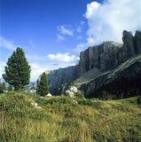 Toneelbergketen en alp in Zuid-Tirol Italië Stock Foto