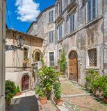 Toneelgezicht in Fiuggi, provincie van Frosinone, Lazio, centraal Italië stock foto