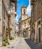 Toneelgezicht in Scanno, provincie van L ` Aquila, Abruzzo, centraal Italië stock foto's
