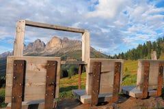 Toneelgezichtspunt in het Dolomiet stock foto's