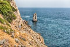 Toneelkustlijn op de Zwarte Zee dichtbij Yalta, de Krim Stock Afbeelding