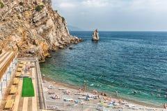Toneelkustlijn op de Zwarte Zee dichtbij Yalta, de Krim Stock Afbeeldingen