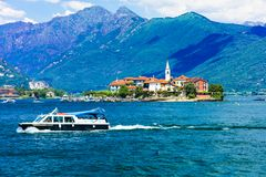 Toneellago Maggiore Indrukwekkende Isola-dei Pescatori royalty-vrije stock afbeelding