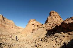 Toneellandschap in Timna-bergen Stock Afbeeldingen