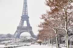 Toneelmening aan de toren van Eiffel op een dag met zware sneeuw Royalty-vrije Stock Afbeeldingen