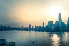 Toneelmening aan New York, Manhattan stock afbeeldingen