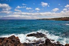 Toneelmening en groot het snorkelen gebied op Maui, Hawaï stock fotografie