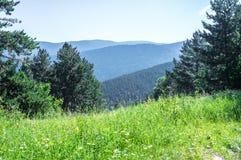 Toneelmening over de bergen van de Pyreneeën van de heuvel Stock Fotografie