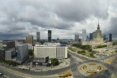 Toneelmening van centrum van Warshau, Polen stock foto's