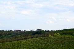 Toneelmening van de groene gebieden en de bossen tegen blauwe hemel met wolken royalty-vrije stock afbeelding