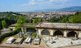 Toneelmening van Florence van San Miniato stock foto's