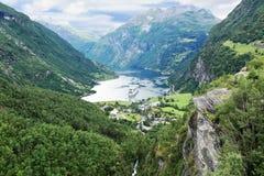 Toneelmening van Geirangerfjord (Noorwegen) Stock Afbeeldingen