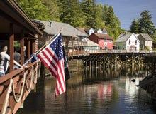 Toneelmening van Historische Kreekstraat op Ketchikan, Alaska stock foto's