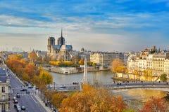 Toneelmening van Notre-Dame de Paris Stock Afbeeldingen