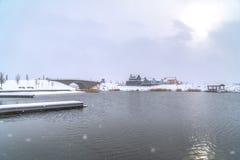 Toneelmening van Oquiirh-Meer tijdens de winter in Utah royalty-vrije stock afbeelding