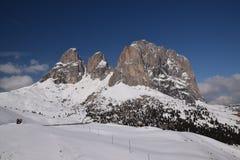 Toneelmening van van de Zuid- alpen van dolomietbergen trentino Italië Europa van Tirol - ga sella nationaal park over Royalty-vrije Stock Afbeeldingen