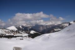Toneelmening van van de Zuid- alpen van dolomietbergen trentino Italië Europa van Tirol - ga sella nationaal park over Royalty-vrije Stock Foto