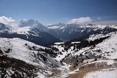 Toneelmening van van de Zuid- alpen van dolomietbergen trentino Italië Europa van Tirol - ga sella nationaal park over Stock Afbeelding