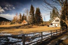 Toneelplattelands houten chalet in julian bergen van alpen in zwart-wit, uskovnica, Slovenië stock fotografie