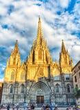 Toneelvoorgevel van de Kathedraal van Barcelona, Catalonië, Spanje Stock Afbeeldingen