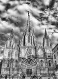 Toneelvoorgevel van de Kathedraal van Barcelona, Catalonië, Spanje Royalty-vrije Stock Foto's