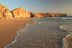 Tonel beach. At sunset time, Sagres, Portugal royalty free stock image