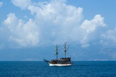 Tonely ship at Mediterranean Sea. Blue sea. stock image